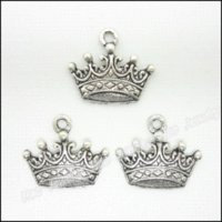 Wholesale Imperial Metals - 80 pcs Vintage Charms Imperial crown Pendant Antique silver Fit Bracelets Necklace DIY Metal Jewelry Making