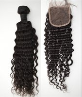 Wholesale Easy Deal - Peruvian virgin hair with closure 3bundles with closure G-EASY hair products lace closure deep wave hair weave deals