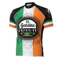 Barato Camisas De Ciclismo Retro Homens-Retro IRISH Men Summer Short Sleeve Cycling Jersey Tops 100% Polyester Respirável Quick Dry MTB Road Bike Clothes Cycling Wears Ropa Ciclismo