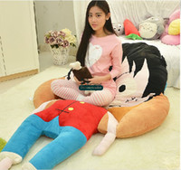 Wholesale Luffy Soft Toy - Dorimytrader 220cm X 120cm Giant Stuffed Soft Monkey D Luffy Beanbag Carpet Tatami Mattress Bed Nice Gift for Kids Free Shipping DY6037