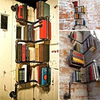 industrial urban style pipe shelf storage shelving book wall mount diy holder