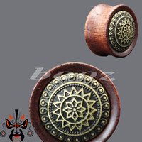 Wholesale Ear Tunnel Piercing Wood - Wood metal design ear plugs piercing tunnels body jewelry expander free shipping 4 styles for choose made in china WE-002