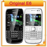 teléfonos móviles qwerty ruso al por mayor-Teléfono móvil Nokia E6 3G con pantalla táctil original con teclado ruso QWERTY en stock WIFI GPS Bluetooth gratis Singapur POST
