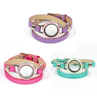 Wholesale Tv China Free Shipping - 2018 Free Shipping Top Fashion Candy Color Leather Wrap Locket Bracelet for Women Presell 12 pieces lot