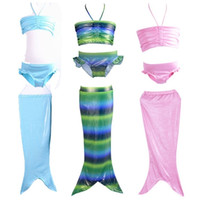 Wholesale Little Girls Mermaid Costumes - PrettyBaby 2016 Girls Kids Little Mermaid Tail Bikini Set Swimmable Swimming Swimsuit Costume 3pcs set swimwear 4 colors