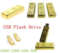 Wholesale Gold Bar Flash Memory - Gold bar 64GB 128GB 256GB Metal USB Flash Drive Pen Drive USB Flash Drive Card Memory Stick Drive Pendrive