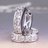 Wholesale Bling Earrings Hoops - Pave white princess topaz earrings 18k white gold plated huggie earing lady fancy bling hoop earring E132a
