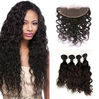 Wholesale 4inch Weaving Hair - 4pcs Human Hair Bundles With Lace Frontal Closure 13*4inch Virgin Malaysian Water Wave Hair Weaves 8-30inch G-EASY