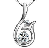 colgante de circonio cúbico 925 al por mayor-Diamante de calidad superior Colgante Collar Cubic Zircon 30% 925 plata esterlina Little Mermaid collar colgante para el banquete de boda joyería de las mujeres
