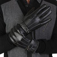 Wholesale Gloves Anal - Wholesale-2015 Motorcycle Gloves Real Solid Adult Hot Sale 1pair Men Luxurious Pu Leather Winter Super Driving screen touch Gloves ANAL
