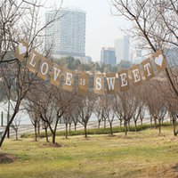 Vintage LOVE IS SWEET Wedding Banner Bridal Shower Foto Puntelli Zigolo carta kraft Decorazione di nozze Segno Decorazione del partito