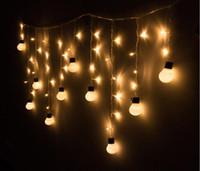 batteriebetriebene im freien weihnachtsbäume großhandel-Super helle 48LED Weihnachten warme Kugel Ball Garten Zimmer Baum Party Dekor String Fairy Birne Licht für Weihnachten Halloween Festival Dekoration