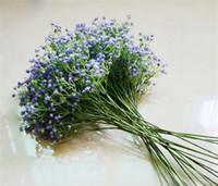 fleurs de matériel blanc achat en gros de-Faux Fleur Blanc Sur Le Ciel Étoile PU Matériel Simulation Gypsophila Soie Fleur Partie De Mariage Décor À La Maison BabysBreath Fleur Artificielle