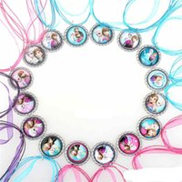 Wholesale Low Priced Baby Clothes - lowest price Fashion Mixed 49cm Frozen Necklaces Colorful Ribbon Necklace Charm Cartoon Pendants Baby Clothes Girls Lace Dress Accessories