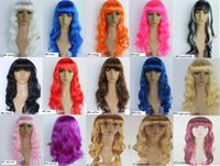 Wholesale Cosplay Wigs Free Shipping - Fashion New Sexy Womens Long Curly Full Wig Party Cosplay Fancy Dress Costume Wigs 15 Colors (fx200) Free Shipping Wholesale
