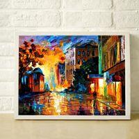 peintures au couteau achat en gros de-Sur le chemin de la maison 100% peint à la main épaisse palette huile peinture couteau haute qualité maison décorative toile peintures JL087