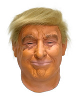 Wholesale deluxe halloween masks - Realistic Adults Halloween Deluxe High quality Latex Full Head Donald Trump Mask with Hair Free shipping