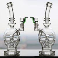 Wholesale Function Shapes - Skull Shape Glass Bong Faberge Egg Bongs Water Pipes Two-function Oil Rigs Glass Bongs Headshower Percolators Bubbler Hookahs