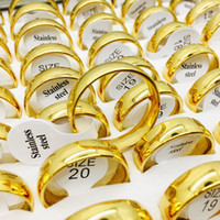Wholesale polish gold man woman resale online - Fashion Gold Silver Multicolor MM stainless steel polished rings For Women and Men Wedding Couple Enagement rings