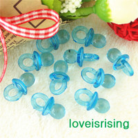 Wholesale Aqua Showers - Free shipping--500pcs Mini Acrylic Clear Aqua Blue Baby Pacifier Baby Shower Favors~Cute Charms ~cupcake decorating