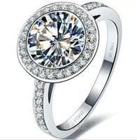 Wholesale Moissanite Diamond Rings - New Free Shipping Fine Wholesale - US sona diamond ring 3 kt gold-plated sterling silver T models PT950 platinum mark Moissanite