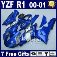 kit de plástico yamaha yzf venda por atacado-Carenagens azuis para YAMAHA YZF R1 00 01 kits de carenagem 2000 2001 YZFR1 yzf1000 B13C barato de boa qualidade peças plásticas kit + 7 presentes