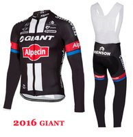 Wholesale Giant Cycling Thermal Clothing - 2016 Giant team Winter Thermal Fleece Cycling Jersey Ropa Maillot Invierno Ciclismo Bicycle MTB Bike Clothing