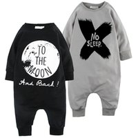 Wholesale Baby Winter Sleeping Suit - Baby romper suit cotton long sleeve letter NO SLEEP printing rompers boys girls costumes toddlers bodysuits