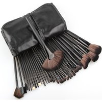 Wholesale Discount Shipping Cases - Wholesale Big discount ! 32pcs Makeup Brushes Kit Makeup Tools+ Black Leather Case, Free Shipping