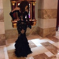 veja através de vestes de renda venda por atacado-2019 New prom vestidos Sexy mangas compridas Lace apliques pena See Through robe sarau sereia vestidos de festa vestidos de noite 167