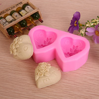Wholesale Double Chocolate Moulds - Double heart shape Chocolate Candy Jello 3D silicone fondant lace Mold Mould cake decoration pastry tools
