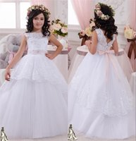 Wholesale Halter Ball Gowns For Children - 2016 Princess Lace Crystal Ball Gown Tulle Flower Girl Dresses Vintage Child Cheap Pageant Dresses Flower Girl Wedding Dresses For Kids