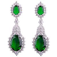 Wholesale Dangling Earrings 24k - 1pair Teardrop Clear Emareld&sapphire Cubic Zirconia Drop Earrings 24K White gold filled Earrings for women