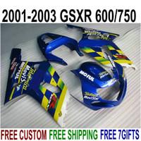 Wholesale Movistar Tops - Top quality ABS fairings set for SUZUKI GSX-R600 GSX-R750 2001-2003 K1 blue yellow movistar fairing kit GSXR 600 750 01 02 03 SK40