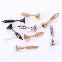 Wholesale Spike Rivet Studs Earrings - Stud Earrings Earring Screw Stainless Steel Retro Pin Piercing Earrings Rock Punk Spike Rivet Ear Studs for Women Men Fashion Jewelry Cross