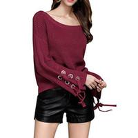 übergroße glocken großhandel-Sexy Sexy Übergroße Schulterfrei Glockenärmel Pullover Pullover Strickpullover