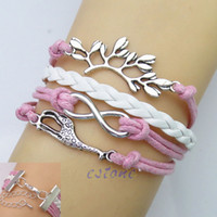 Wholesale Pink Infinity Rope Bracelet - Free Shipping New Cute Infinity Love Giraffe Friendship Antique Leather Charm Bracelet Pink order<$18no track