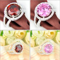 Wholesale Pink Kunzite Rings - Wholesale Mix Color 10 PCS LOT Daily Jewelry Holiday Gift Round Pink Kunzite Garnet Gemstone 925 Sterling Silver Plated Ring