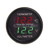 Wholesale New In Car V Red Green Dual Display LED Dual Digital Thermometer Temperature Meter Voltmeter