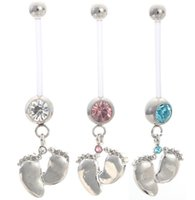 Wholesale Pregnancy Belly Rings - Wholesale-2015 Fashion Flexible Navel Piercing Pregnancy Maternity Bar Ring Body Belly Piercing Baby Feet For Women Gift Jewelry