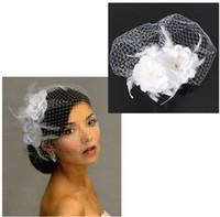 ingrosso velo da sposa netto-2015 vendita calda uccello gabbia netto da sposa da sposa fascinator viso velo piuma fiore bianco con pettine abito accessori moda