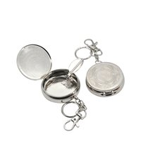 Wholesale steel ashtray - Smart Stainless Steel Portable Pocket Circular Ashtray Key Chain with Cigarette Snuffer