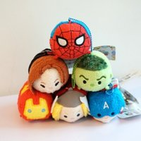 TSUM TSUMS hombre araña juguete de peluche de Kawaii Dolls animado Screen Cleaner móvil Llavero suspensión del bolso para el teléfono móvil