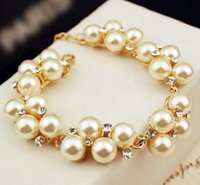 Wholesale Turquoise Bridesmaid Jewelry - Best Bridesmaid Gift Luxurious 18K Gold Infinity Charm Crystal Cubic Zircon Diamond Pearl Beads Bracelet For Women Jewelry [JB06264*6]