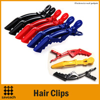 Wholesale Wholesale Hair Crocodile Clips - Hot Sale Colorful Hair Styling Hair Clip Styling Tools Plastic Crocodile Hairdressing Sectioning Clamp Hair Styling Care