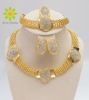 Wholesale indian costume dress - Free Shipping 2015 Gold Plated Necklace Bracelet Earrings&Ring Wedding Dress Accessories Costume Women Party Crystal Jewelry Sets