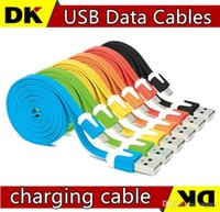 Wholesale I Phones 5s Cable - 1M 2M 3M Micro V8 Noodle Flat Data USB Charging Cords Charger Cable Line for i 5 5C 5S 4 4s Samsung Android Phone