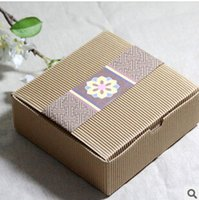 Wholesale Moon Cake Paper Box - Kraft paper boxes moon cake box gift food packaging for wedding birtyday party supplies 14*14*5 cm