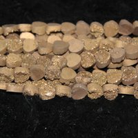 Wholesale Gemstone Heating - 10mm 15.5in 1Strand Titanium Gold Druzy Agate Bead Natural Heat Gemstone Crystal Quartz Druzy Agate Necklace Pendant Jewelry Make Connector