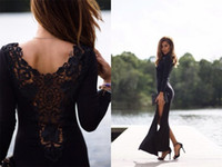 Wholesale Royal Blue Lace Trim - Sexy 2016 High Slit Evening Dresses Formal Dresses Crew Trimmed Tight Long Sleeves Celebrity Evening Dresses with Lace Sheer Back
